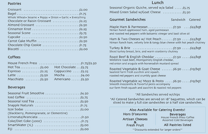 Lovers and Madmen Menu